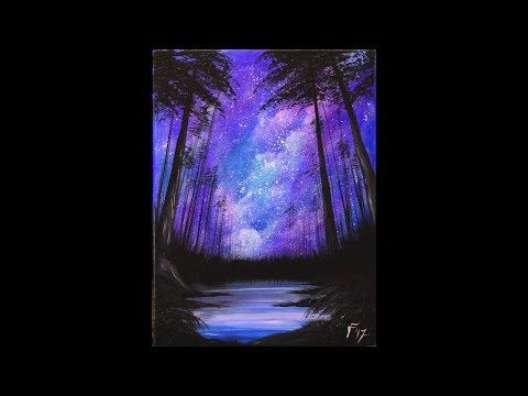 (1274) Starry Night in the Forest Step by Step Acrylic Painting on Canvas for Beginners - YouTube