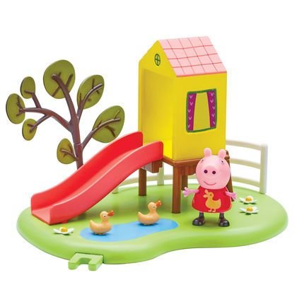 Have fun with this cute Peppa Outdoor Slide Playset. Push the included, articulated Peppa down the slide and re-live your favourite Peppa Pig playground moments.