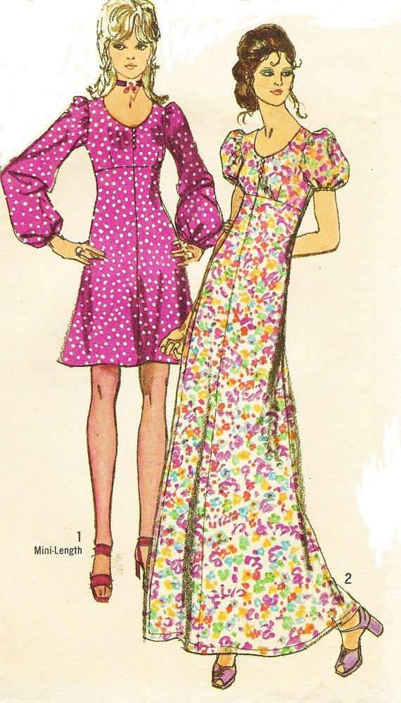 70s Simplicity Sewing Pattern 9446 Womens Empire by CloesCloset