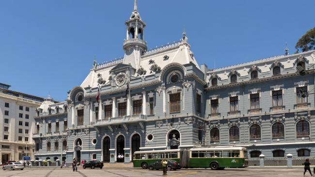 The Navy Building in Plaza de Armas Valparaiso, Chile.