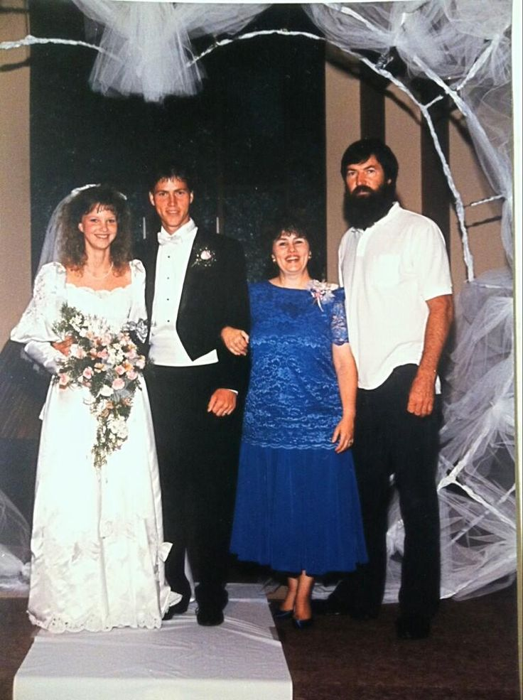 From Duck Dynasty fame....Jase & Missy's wedding, with Miss Kay and Phil on the right !