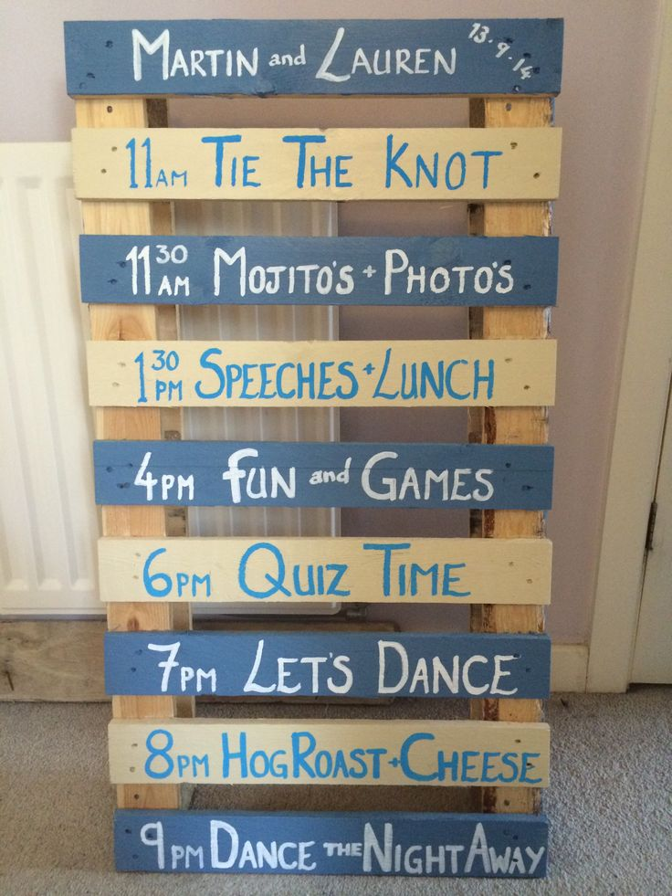 Country wedding pallet sign - order of service