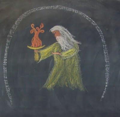 Waldorf ~ 5th grade ~ Ancient Persia ~ Zarathustra ~ chalkboard drawing