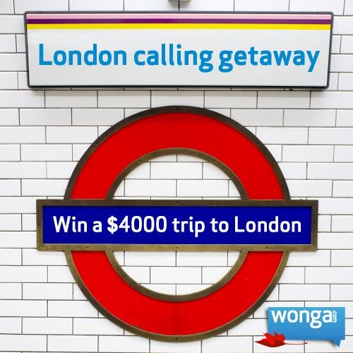 Win a $4000 trip to London that includes round trip airfare for two, a 7 night hotel stay, transfers and $500 spending money! Enter now: https://www.facebook.com/wongacanada/app_169792383183662