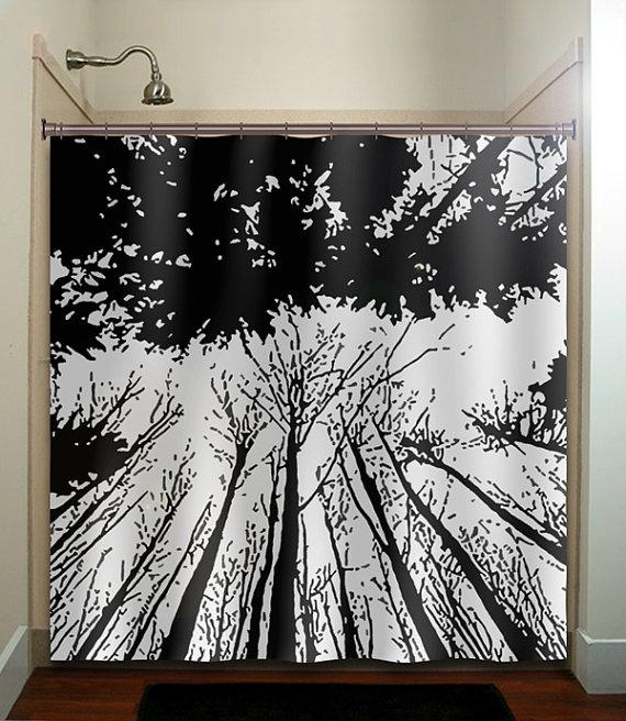Forest grove woodland winter trees shower curtain bathroom for Bathroom decor panels
