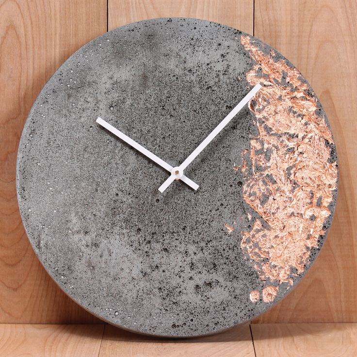 """Lightweight cast concrete 11"""" wall clock with inlaid copper, silver or gold foil. Made in Canada."""