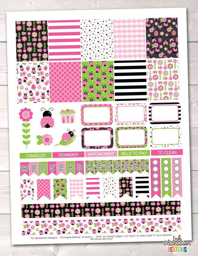 Pink Ladybug Weekly Printable Planner Stickers – Instant Download PDF for your Erin Condren Life Planner