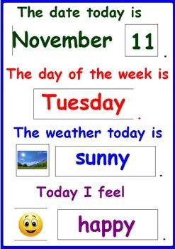 DAILY CHART- Date, Month, Day, Weather and Mood- 50% off today!