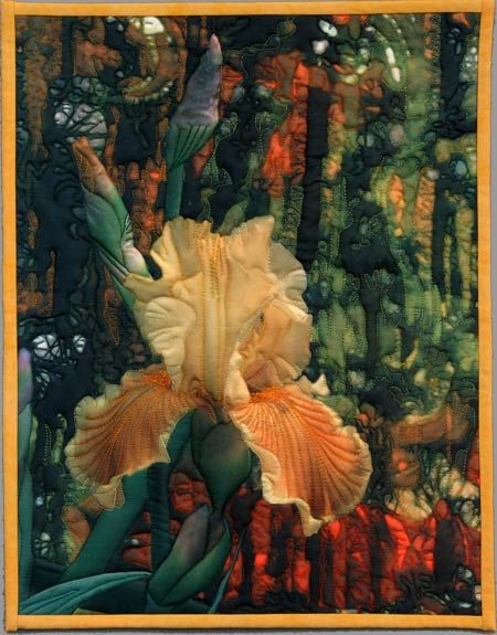 The Batik & The Iris - an art quilt by Barbara Barrick McKie    Just gorgous - and the quilting makes it stunning!