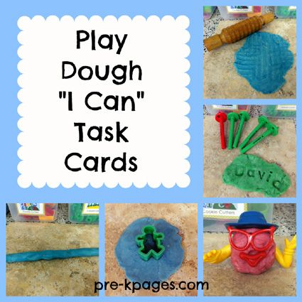 Free printable play dough I Can task cards via www.pre-kpages.com