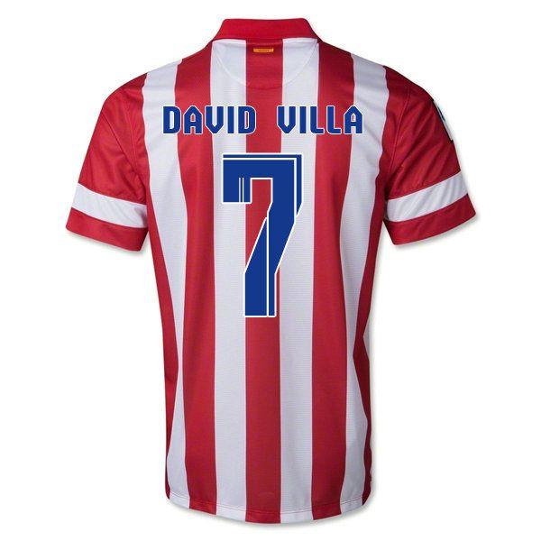 Maillot de foot Atletico Madrid Domicile 2013 2014 (7 David Villa) pas cher  http