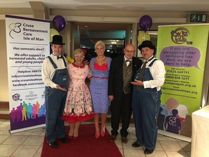 Laurel & Hardy Lookalikes at the 1940's Themed Event, Charity Evening - Cruse Bereavement Care, Isle of Man. Entertainment by Sally Helwich from Isle of Man Event & Services Ltd.