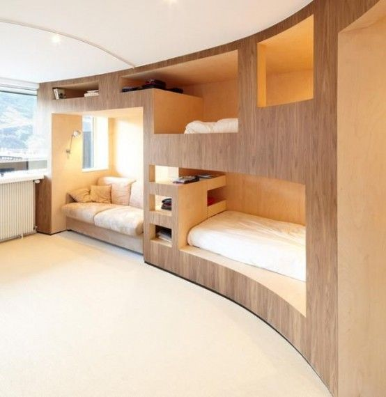 26 cool and functional built in bunk beds for kids - Space saving bedroom ideas ...