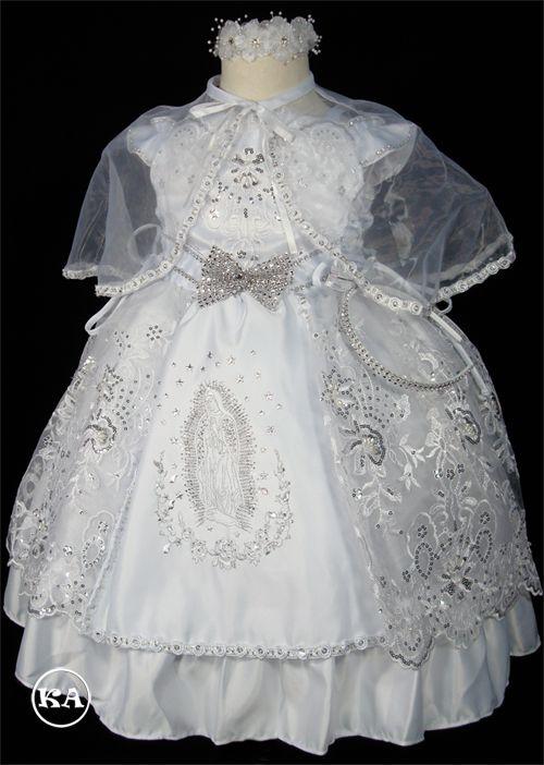Eliza Girls' Baptism Dress with Virgin Mary | HeidiCollection.com