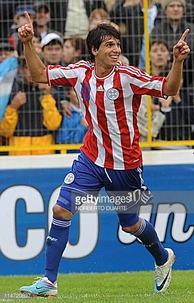 Paraguay's national team footballer Pablo Zeballos celebrates after scoring against Argentina during a friendly match in Resistencia Chaco Argentina...