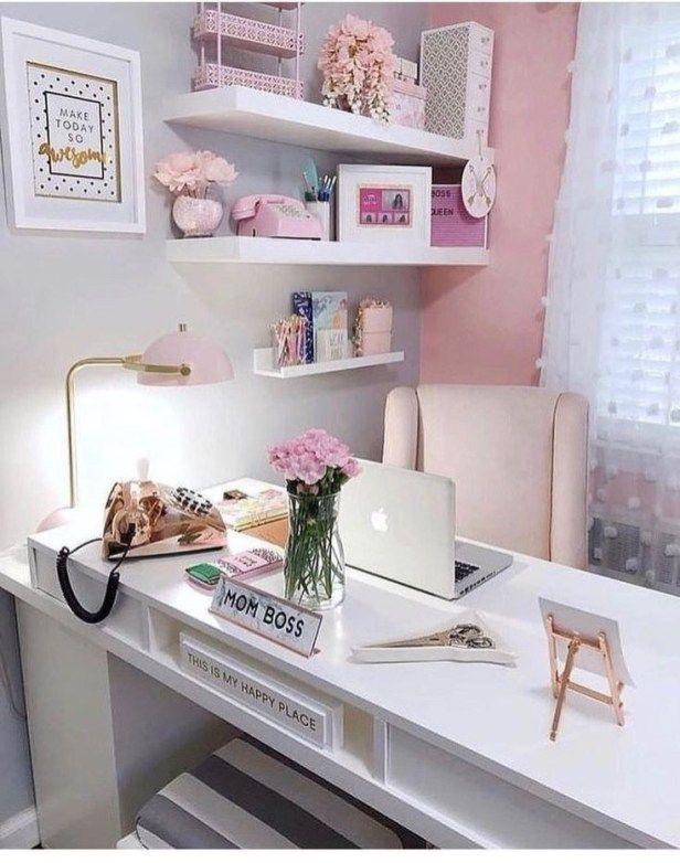 Top Best Home Office Organization Ideas 2019 21 Pink Home Offices Chic Office Decor Home Office Decor