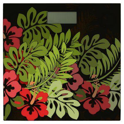 #Tropical Hawaiian Floral Chic Art Bathroom Scale - #Bathroom #Accessories #home #living