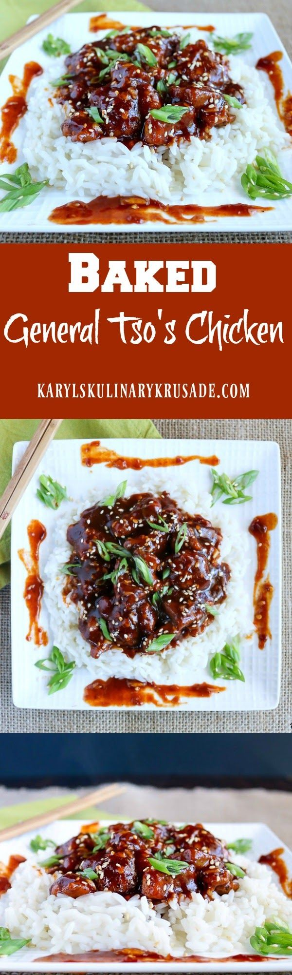 Skip the takeout and make Baked General Tso's Chicken at home instead! Yes, this chicken is baked, and saves a lot of fat and calories. But you won't miss out on any of the spice or the wonderful flavors of this traditional Asian restaurant dish