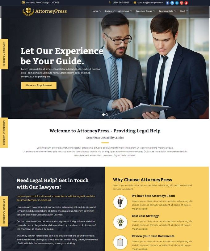 40 Best Law Wordpress Themes For Law Firm Attorney Website Avec