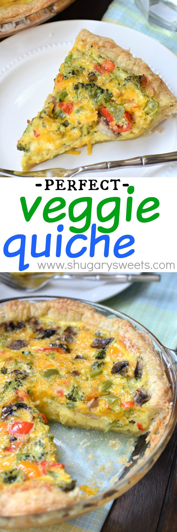 Veggie Quiche with puff pastry crust. Easy, delicious, perfect for breakfast, brunch or dinner! Sub your favorite veggies or meat!