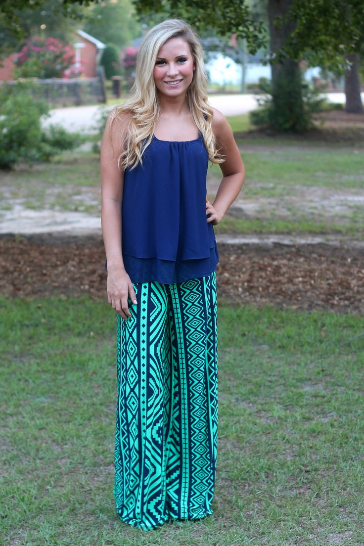 Off the Racks Boutique - Mediterranean Cruise Palazzo Pants: Navy/Jade, $34.99 (http://www.shopofftheracks.com/mediterranean-cruise-palazzo-pants-navy-jade/)