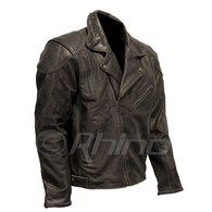 Vintage Brando Black Brown Motorcycle Jacket with Armour & Vents