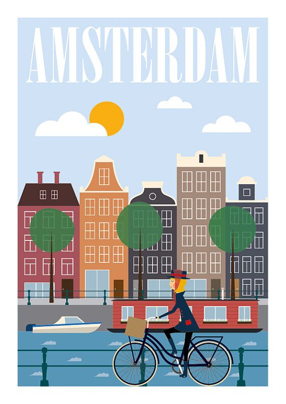 Amsterdam Print, City Prints, City Poster, Poster Netherlands, Travel Poster, Mid Century Modern, Size A3 or 11x14  We have in our store, other