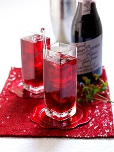 emeril's poinsettia cocktail | 1/4 cup vodka  1/4 cup Champagne  1/2 cup cranberry juice  Crushed ice  2 strips orange zest, each about 1/4-inch wide and 2 inches long      Directions:      Combine the vodka, Champagne and juice in a large-stemmed red wine glass. Add crushed ice and stir until the mixture is well chilled. Twist the orange strips over the glass, drop them in, and serve.
