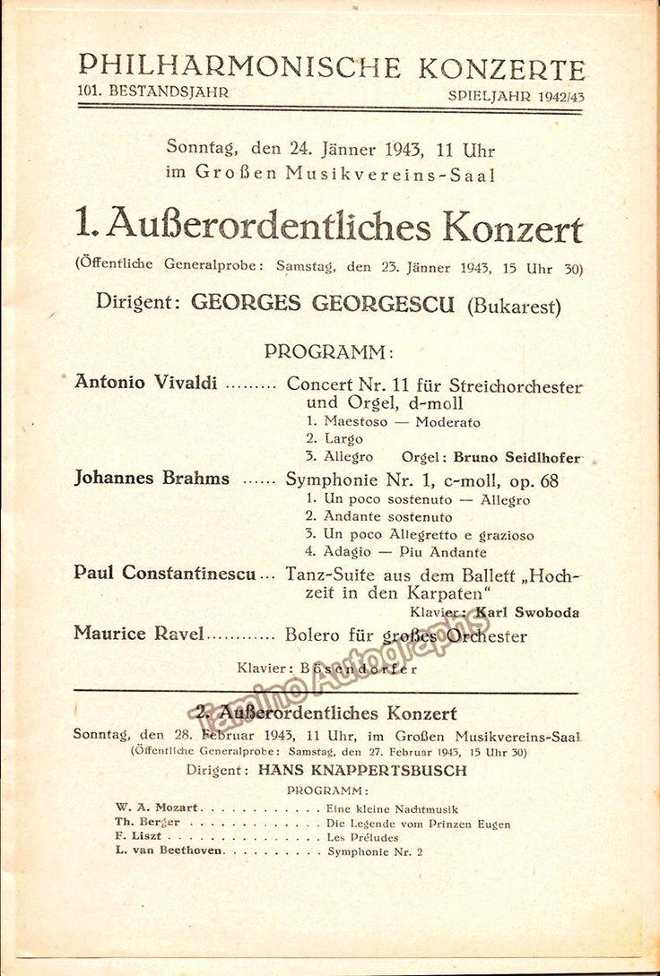 Georgescu, Georges - Vienna Philharmonic Orch. Program 1943