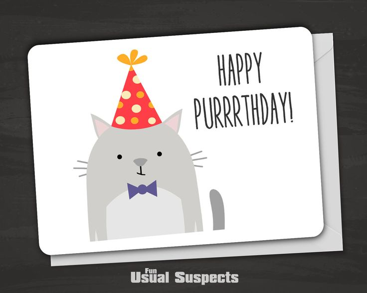 "Outside reads ""Happy Purrrthday!"" Blank inside. Fun Usual Suspects cards are carefully printed on thick, high-quality card stock and have rounded corners for a clean but soft look and feel. The card s"