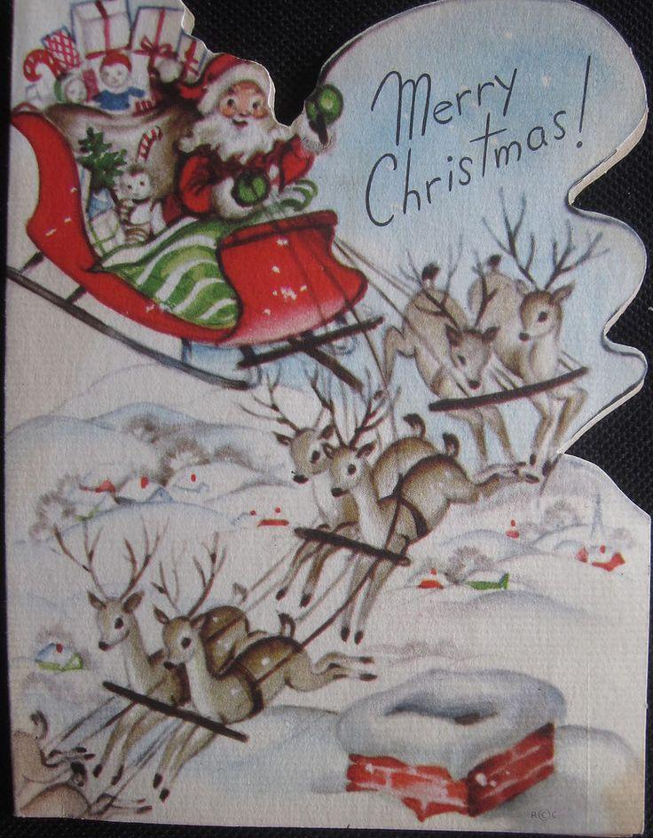 Vintage Christmas Greeting Card Santa Landing on the Rooftop Mid Century