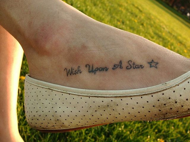 Unique foot tattoos | This simple line tattoo reminds us to wish ...