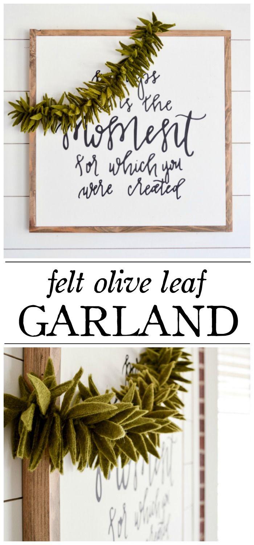 Felt Olive Leaf Garland   LittleRedBrickHouse.com