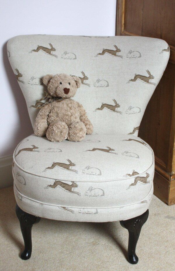 Children's chair in Emily Bond Rabbits & Hares fabric, upholstered by Sally White Designs.