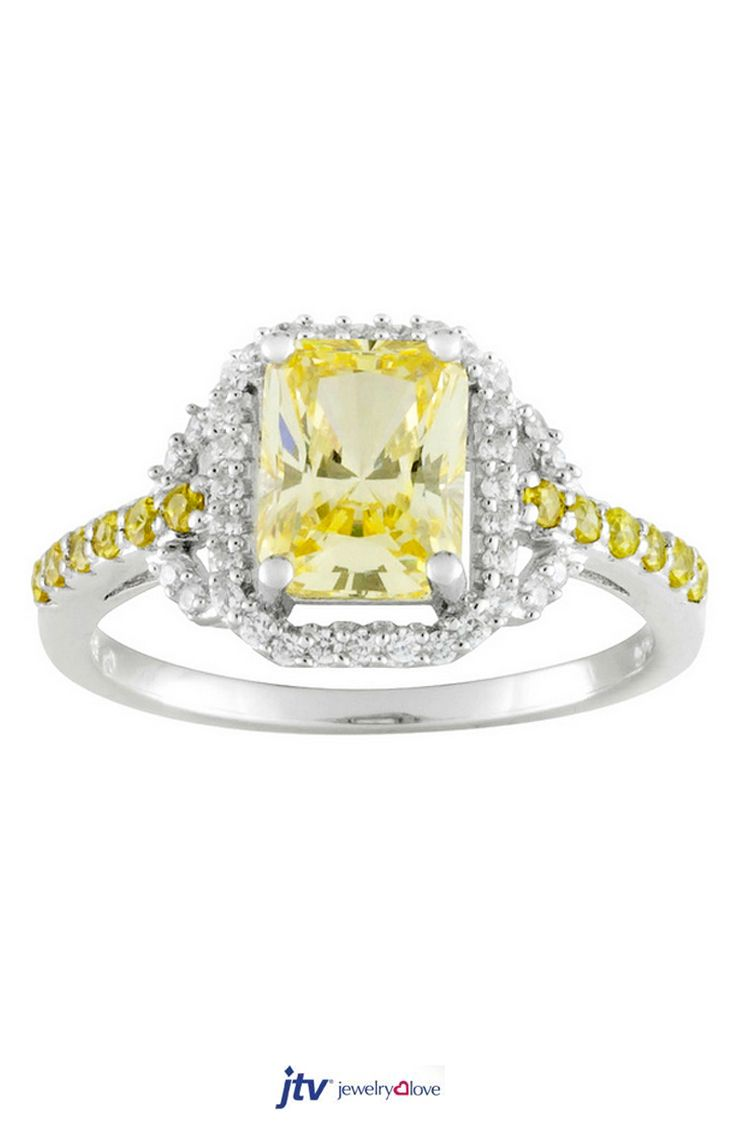 Bella Luce 321ctw Canary Yellow Rhodium Plated Sterling Silver Ring