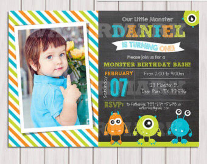 Invitación de cumpleaños de Monster, monstruo invitación, invitación de la pizarra, fiesta de cumpleaños de Digital Monster, personalizada, para imprimir