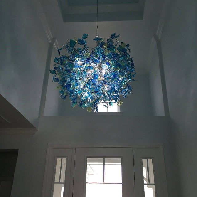 Chandelier Hanging Light With Champagne Color Flowers Leaves In 2020 Ceiling Pendant Pendant Light Fixtures Hanging Chandelier