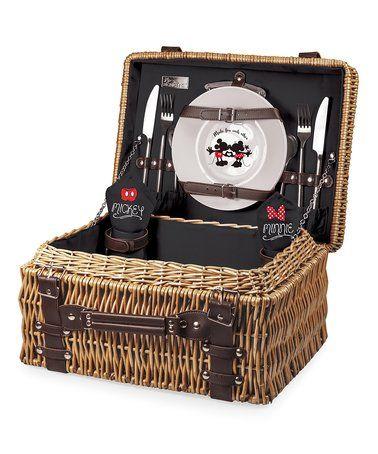 Look at this #zulilyfind! Mickey & Minnie Mouse Picnic Basket Set #zulilyfinds