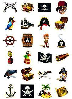 Piraten Tattoo Set 24 Kindertattoos - verschiedene Piraten Motive ...