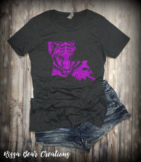 TIGERS purple and gold glittermetallic graphic t-shirt