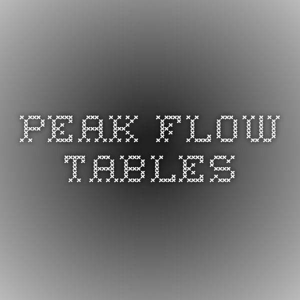 Peak Flow Tables