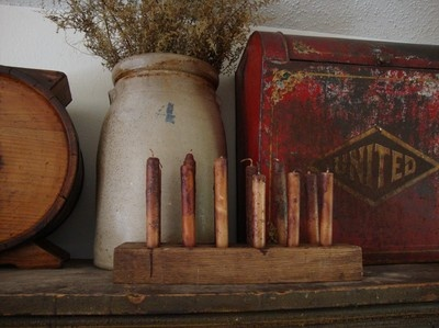 Early Primitive Wooden Candle Dryer; Circa 1800's