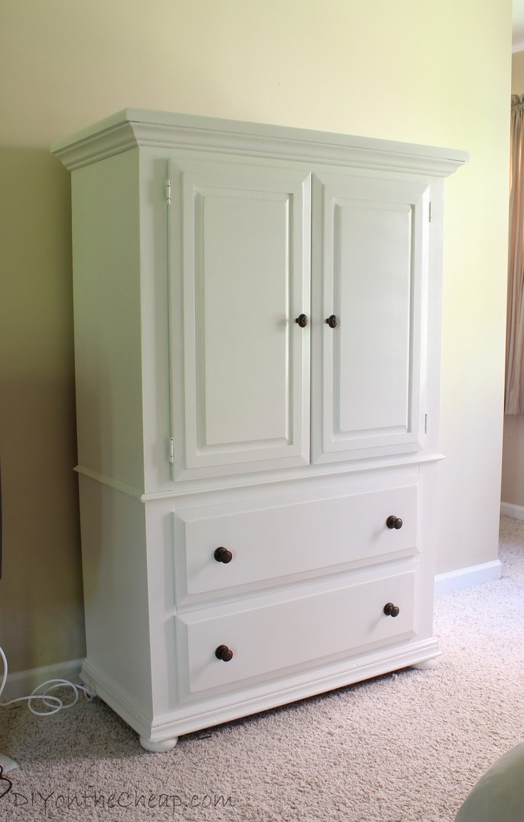 Such a great armoire makeover it 39 s amazing what a change paint can make erin spain blog for Master bedroom set with armoire