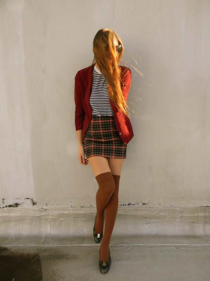 plaid skirt, striped shirt, sweater, knee high socks, long ginger hair, cardigan, style, fashion, outfit, autumn
