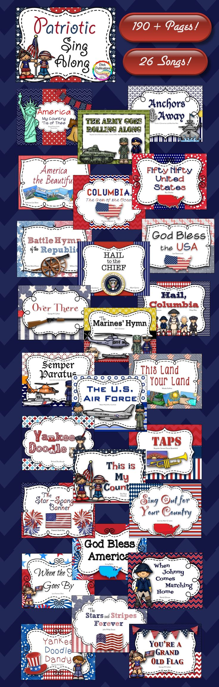 This 199 page resource will help guide your next Patriotic Sing Along! Cute graphics! Perfect for President's Day, July 4th, September 11th, or any other patriotic occasion!