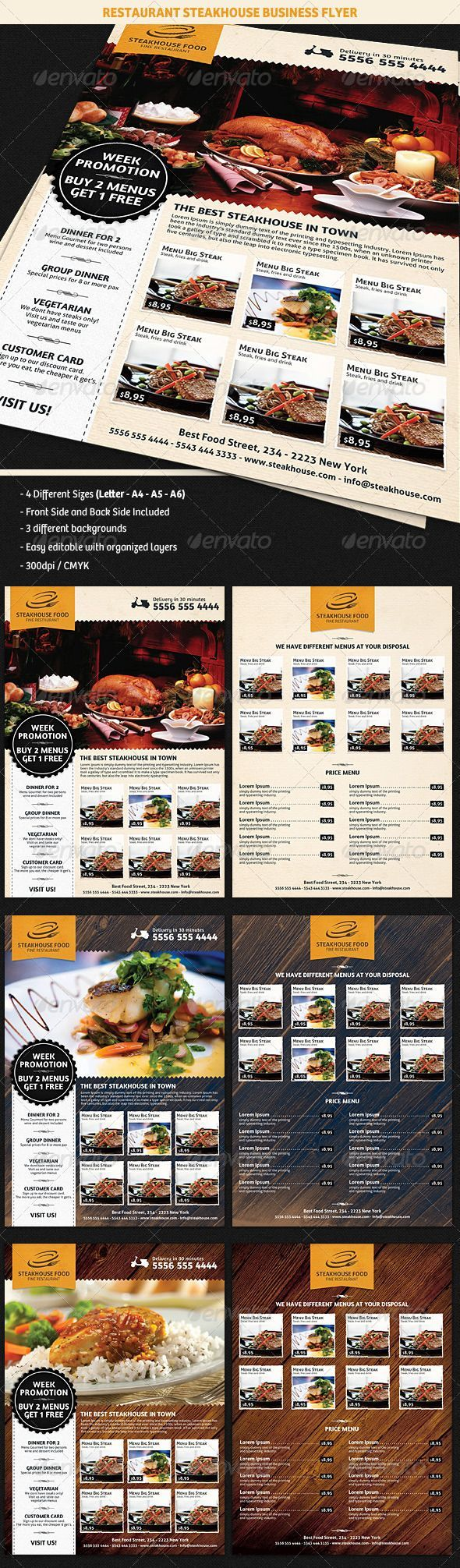 Restaurant SteakHouse Advertising Business Flyer #GraphicRiver Description A nice and traditional looking: