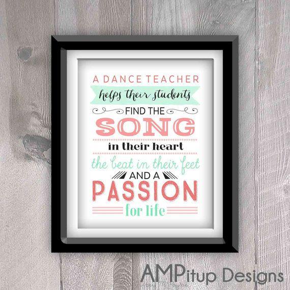 Printable Dance Teacher Gift  Dance Teacher Gift by AMPitupdesigns