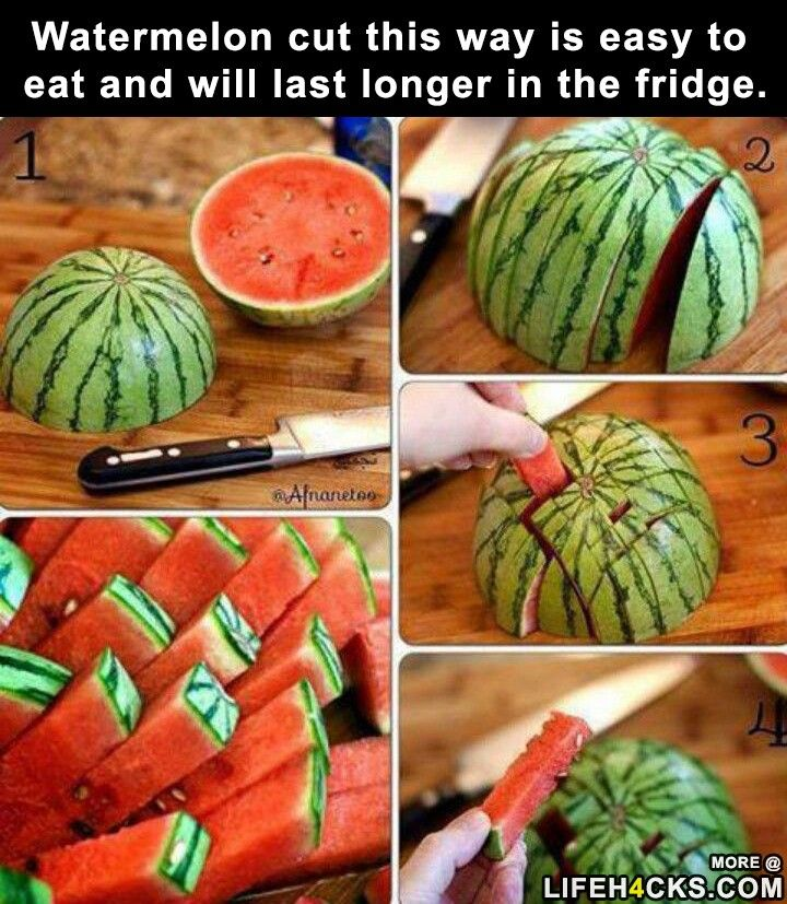 Watermelon cut this way is easy to eat and will last longer in the fridge…