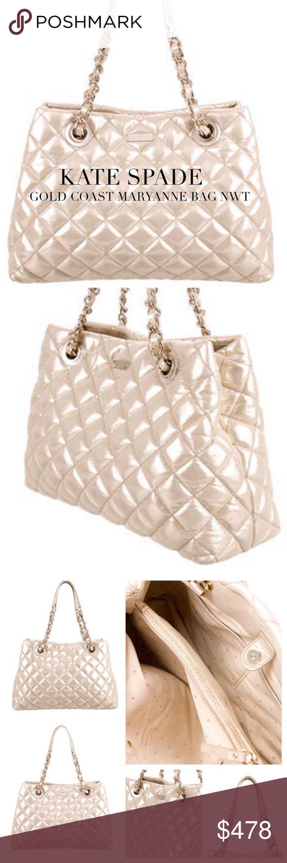 """KATE SPADE MARYANNE GOLD COAST BAG Kate Spade New York Gold Coast Maryanne bag in metallic gold-tone quilted leather with pale gold-tone hardware, dual flat shoulder straps with chain-link accents, beige polka dot woven lining, 3 interior compartments; 1 with zip closure, 3 pockets at interior walls; 1 with zip closure and magnetic snap closure at top. Includes dust bag. Approx Measurements: Shoulder Strap Drop 8.5"""", H: 10"""", W: 15"""", D: 4.5"""". Condition: Excellent. Includes dust bag. SOLD OUT…"""