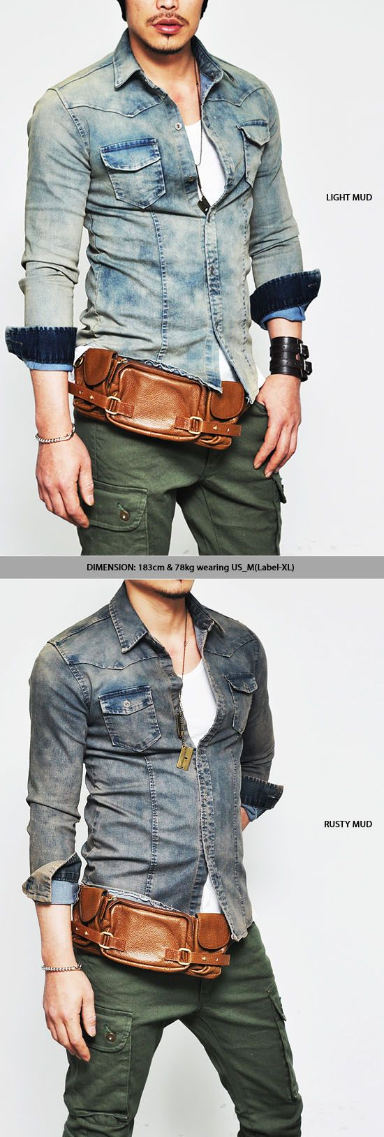Tops :: Shirts :: Real Vintage Mud Snug Fit Span Denim-Shirt 82 - Mens Fashion Clothing For An Attractive Guy Look